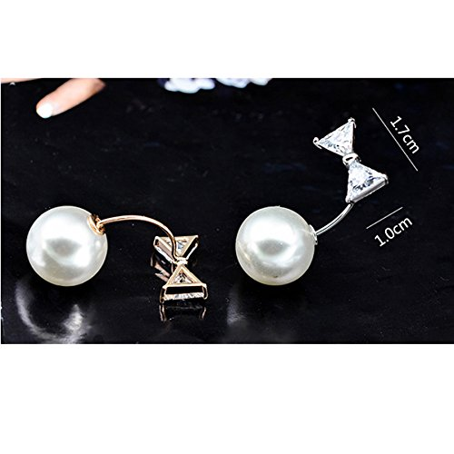 Joyci 1Piece Crystal Bows Brooch Trend Pins Elegant Pearl Brooch Pin Shirt and Skirt Accessories (Silver) by Joyci (Image #2)