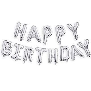 Happy Birthday Balloons Banner (3D Silver Lettering) Mylar Foil Letters | Inflatable Party Decor and Event Decorations for Kids and Adults | Reusable, Ecofriendly Fun
