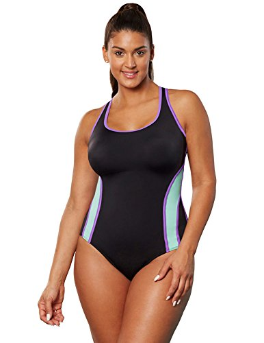 Aquabelle Women's Plus Size Chlorine Resistant Xtra Life Lycra Relay X-Back Swimsuit 18 Multi
