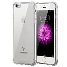iPhone 6/6S Plus Clear Case, Elzo Apple iPhone 6/6S Plus Transparent PC Back Protector Cover with Full-edge Soft Air-cushioned TPU Shock-Absorption Bumper and Anti-slip Hard Shell (Transparent Bumper)