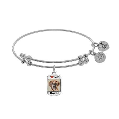 Tiffany Engraved Round Tag - JewelryWeb Brass with White Finish 1.5mm Shiny Round Tube Expandable Dog Tag-Boxer Bangle Bracelet