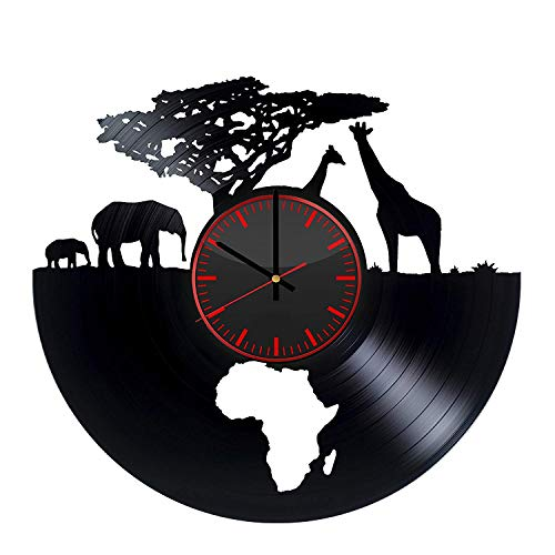 Art League House Vinyl Clock Africa - Safari Animals Vinyl Record Wall Clock - South African Animal Figurines Handmade Decor for Home (Black & Red)
