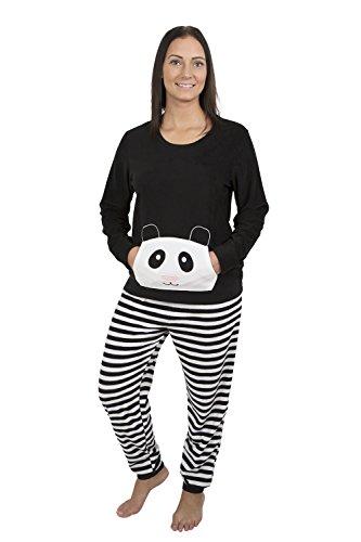 Alki'i Women's Light Weight Fleece Pajama Set With Kangaroo Pockets (Band Pajama)