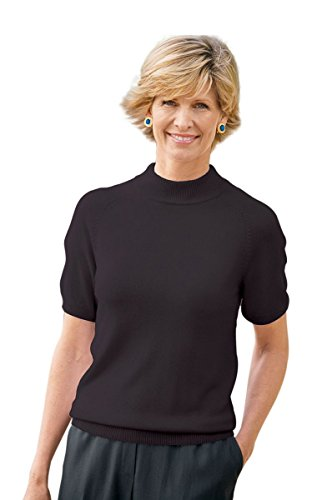 The Tog Shop Womens Spindrift Short-Sleeve Mockneck Sweater - L Black