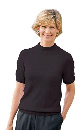 The Tog Shop Womens Spindrift Short-Sleeve Mockneck Sweater - L Black