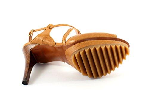 Pepe Femmes Castell Sandalette Avec Plateau De Talons Hauts De Cuoio
