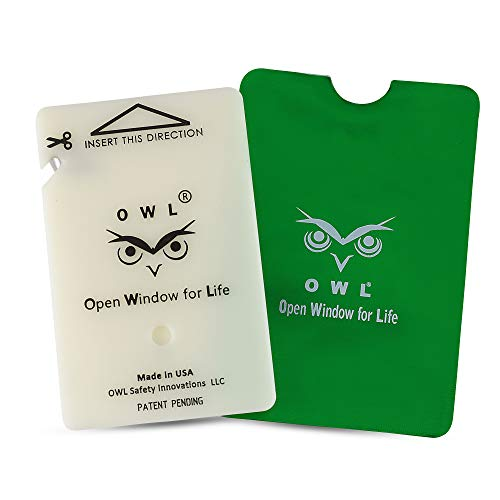 OWL Car Window Breaker and Seatbelt Cutter Card Auto Crash Emergency Escape Tool Life Saving Survival Kit 2-in-1 Tool - Made in USA (Green) ()