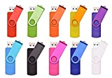 FEBNISCTE 10pcs Rotatable 8GB OTG USB Flash Drive for Cell Phones & Tablet PCs Mix Color