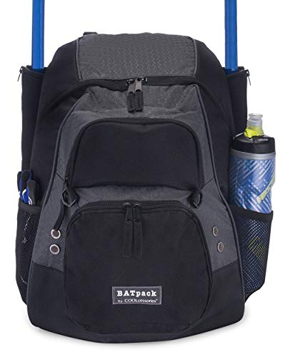 COOLcessories Bat Bag Backpack - A Bat Bag That Fits All Your Gear - Use as a Baseball Bag or Softball Bag - Includes a 3 Position External Cargo ()
