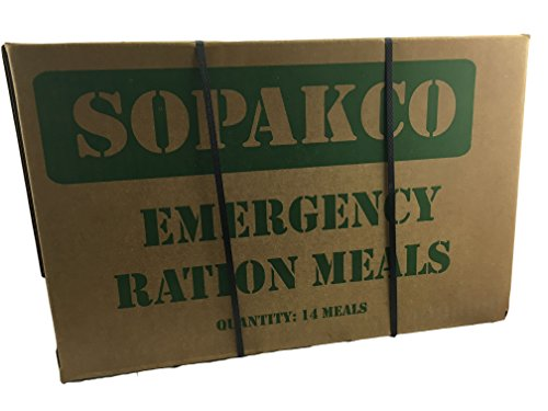 Case of 14 SOPAKCO Sure-Pak MRE Reduced Sodium Emergency Ration Meals – Ready to Eat Factory Sealed and Banded