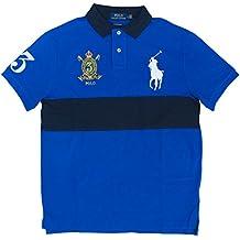 Polo Ralph Lauren Men's Classic Fit Big Pony Banner Stripe Polo Shirt White Navy