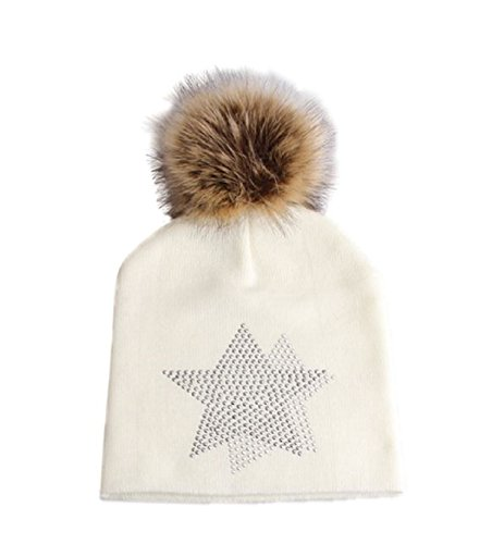ThermaX Womens Winter Hat With Pom Pom - Beanie Style Hat With Fashionable Star Design & Faux Fur Pom Pom For Women & Girls (Ivory Star Pom Pom Hat) (For Hat Ice Women)