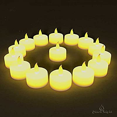 BEST FLAMELESS TEA LIGHTS(24 Pack) - LED Tea Lights Look Authentic, No Drips, No Mess - Bonus 6 Designer Decorating Bags For Free Worth $6 - Battery Tea Lights for Any Occasion:Weddings, Home Decor & Christmas - Best Quality Yellow Flickering Flame Electr