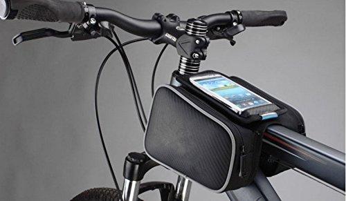 beishuo Mountain Road Bike Fahrrad Satteltasche Fahrrad Frontrahmen Twins Tasche mit einem Touchscreen Handytasche für Bildschirmgröße & # x2264; 14cm Dual-Packtaschen Tube Fahrrad Tasche