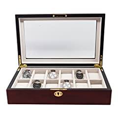 Store up to 12 of your finest watches in this elegant case, ideal for watches, cufflinks, jewelry, and small accessories. The hinged glass lid offers dramatic display for your collection, and the faux suede lining provides a luxury look and f...