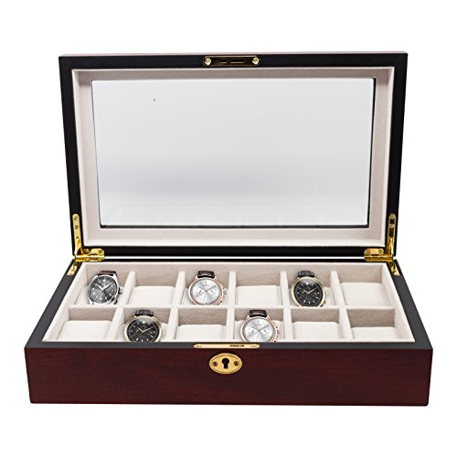 Elegant 12 Piece Cherry Wood Rosewood Watch Box Display Case Collection Jewelry Box Storage Glass Top (Watch Rosewood Case)