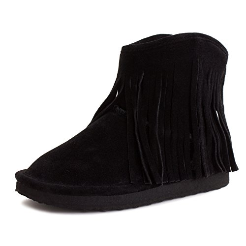 Suede Fringes Ankle Boots (Black) - 7