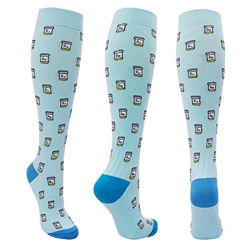 Graduated Compression Socks for Men Women 20-30 mmHg Knee High Medical Compression Stockings for Nurses Athletic Pregnancy Shin Splints Flight Travel Running (Blue, L/XL)