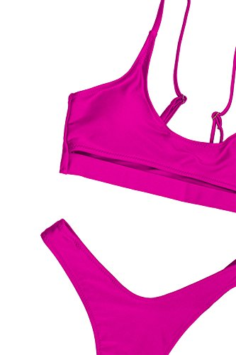 7270dfe9375 FAFOFA Sexy High Cut 2PCS Swimsuit for Women Sexy Low Scoop Neck Cutout  Underboob Cropped Tank