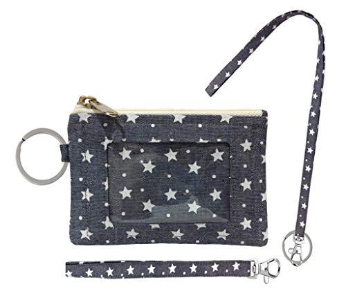 Zip ID Case, Lanyard & Wrist-let/Key Wallet/Credit Card Case Coins Purse with ID Window, Lanyard & Wrist-let/Cute ID Holder/Badge Clips (Grey Star)