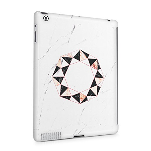 Onyx & Rose Quartz Octagon On White Marble Stone Hard Plastic Tablet Case For iPad 2 & 3 & 4