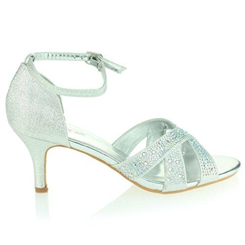 Sandalias Zapatos Plata Nupcial Medio Correa Abierta Punta Boda Mujer Tacón Fiesta Noche Talla Diamante Resplandecer Señoras Prom Fwfqp6O