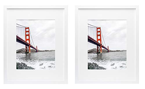 Frametory, Set of 2, 16x20 White Picture Frame - Made to Display Pictures 11x14 Photo with Ivory Color Mat - Wide Molding - Preinstalled Wall Mounting Hardware (16x20, White) (16x16 White Frame)