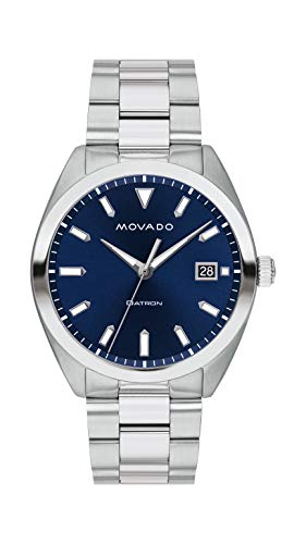 Movado Men's Heritage Stainless Steel Watch with a Printed Index Dial, Silver/Blue (Model 3650056)