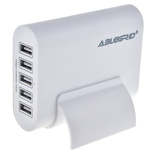 ABLEGRID 5V 10A 50W 5-Port USB Charger Travel Desktop Adapter Rapid Charging for Apple iPhone 6S, 6S Plus,iPad Air, mini,Samsung Galaxy S6, Edge, Plus and Many Other Devices (White)