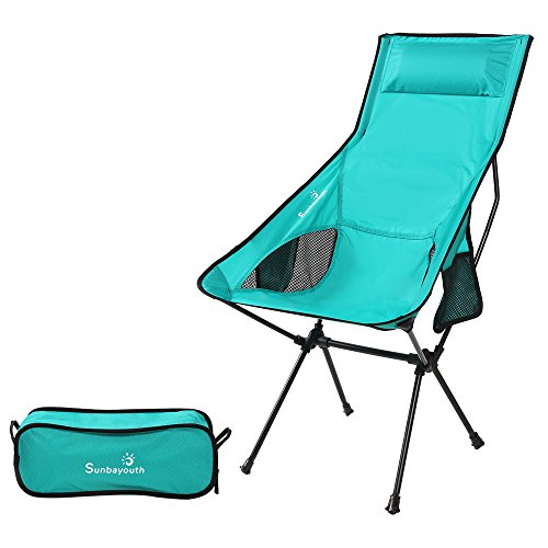 LetsFunny Folding Camping Chair Portable Lightweight Backpack Chairs Compact Heavy Duty with Carry Bag for Hiking Picnic Beach Camp Backpacking Outdoor Festivals (CH-9 Cyan)