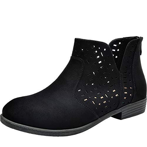 Luoika Women's Wide Width Ankle Booties - Low Flat Heel Side Zipper Round Toe Suede Comfy Boots.(181109,Black,7.5) ()