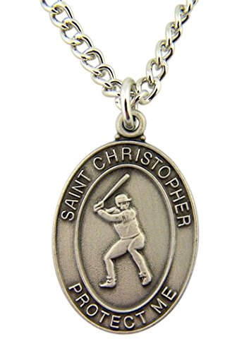 Pewter Saint Christopher Baseball Medal on Nickel Chain Necklace, 1 - Medal Christopher Football