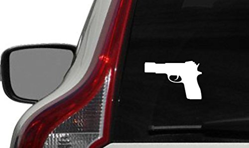 Gun Glock Pistol Left Version 1 Car Vinyl Sticker Decal Bumper Sticker for Auto Cars Trucks Windshield Custom Walls Windows Ipad Macbook Laptop and More (WHITE) (Glock Pistol Stickers)