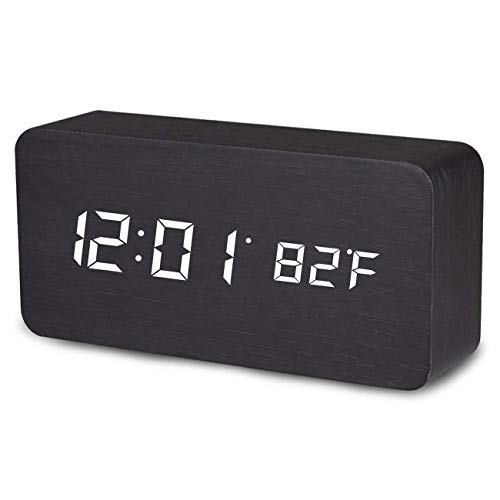 Digital Alarm Clock, Temperature Date LED Display Wood Grain Clock 3 Levels Brightness Voice Control Modern Simplicity Wood Digital Clock (Alarm Clock)
