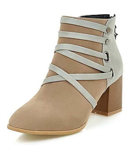 CHFSO Womens Stylish Solid Round Toe Zipper Mid Chunky Heel Ankle Boots Apricot U48xfYT8