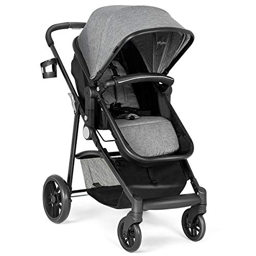 INFANS 2 in 1 Baby Stroller, High Landscape Infant Stroller & Reversible Bassinet Pram, Foldable Pushchair with Adjustable Canopy, Storage Basket, Cup Holder, Suspension Wheels (Grey) ()