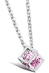 3Aries Stainless Steel Couple Necklaces Silvery Cube Frame w/ Pink/Transparent Zirconia Women/Men Necklace