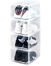 Clothes Storage,pgmrw23h Transparent Home Storage Shoe Box Drawer-style Entrance Shoes Clamshell Box Perspective Plastic Storage Box Durable and Clean- Clear