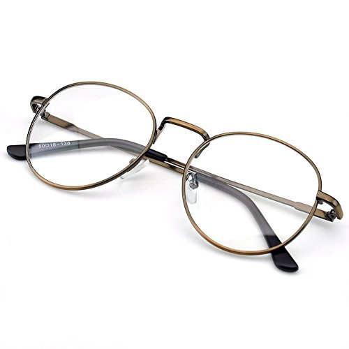PenSee Oval Classic Retro Metal Frame Clear Lens Round Circle Eye - Circle Glasses Oval