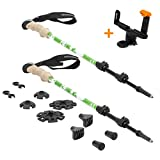 TNH Outdoors Trekking Poles with Selfie Attachment - Lightweight, Aluminum Hiking, Walking Sticks with Natural Cork Grips, Quick Locks, 4 Season/All Terrain Accessories and Carry Bag