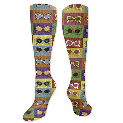 - Ancharpin Men Women Pop Art Style Sunglasses Over Knee Long Socks Crew Running Stocking Athletic Outdoor Sports Sock
