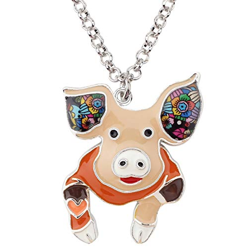 Pig Floral (NEWEI Alloy Enamel Cute Floral Pig Piggy Pendant Necklace Choker Chain Collar Fashion Animal Jewelry for Women Girls Gift Teens (Brown))