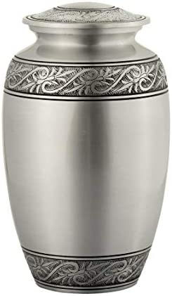 Oceanus Series Affordable Solid Aluminum Metal Quality Handcrafted for Human Funeral Burial Large 10 inch Blue Cloud with Leaves Enshrined Memorials Cremation Urn for Ashes