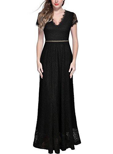 Miusol Women's Retro V Neck Floral Lace Wedding Bridesmaid Long Dress,Black,Medium
