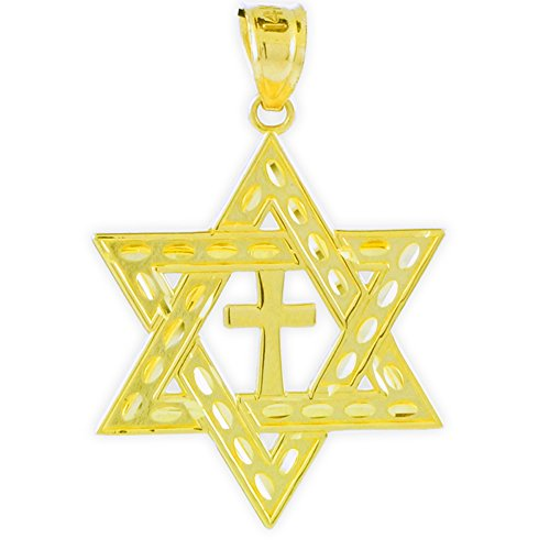 14K Gold Jewish Charm Star of David Cross Pendant (Medium)