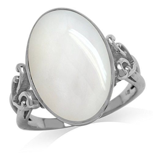 Mother Of Pearl White Gold Plated 925 Sterling Silver Victorian Style Heart Knot Ring Size 8 (Victorian Style Pearl)