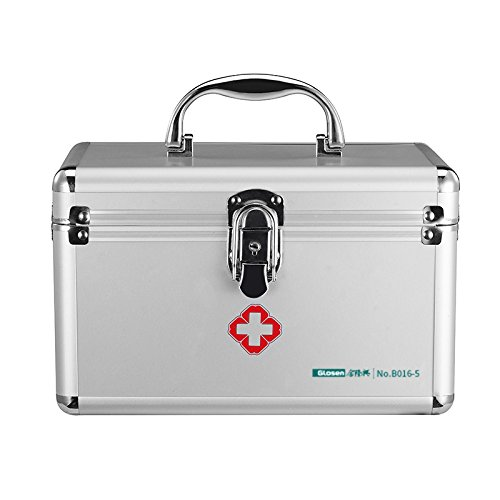 Ultimateod B016-5 First Aid Emergency Medication Prescription Drugs Storage Box Simple Silver