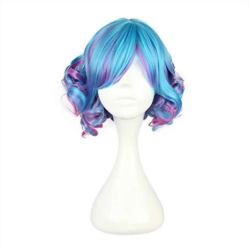 NiceLisa Girls Colorful Short Curls Deep Wave Manga Cartoon Cosplay Costume Synthetic Halloween Wigs]()