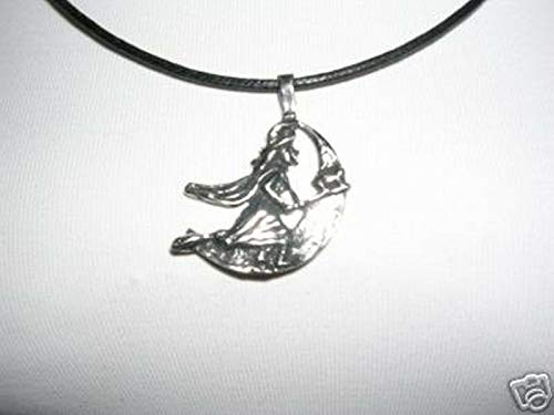New Witch Riding HER Broomstick w CAT by The Moon Pendant ADJ Necklace KEZ-2075