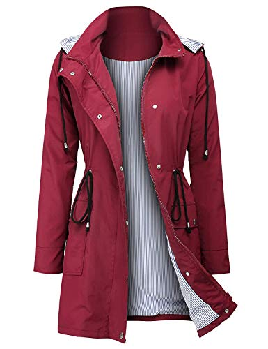 ZEGOLO Rain Jacket Women Striped Lined Hooded Lightweight Raincoat Outdoor Waterproof ()
